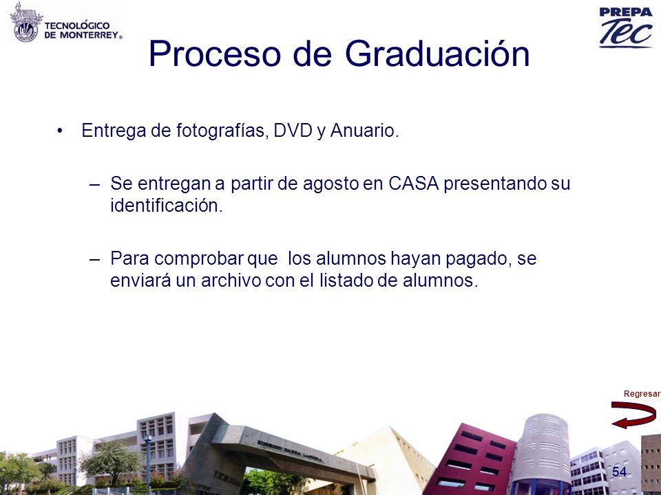 Regresar 54 Proceso de Graduación Entrega de fotografías, DVD y Anuario. –Se entregan a partir de agosto en CASA presentando su identificación. –Para