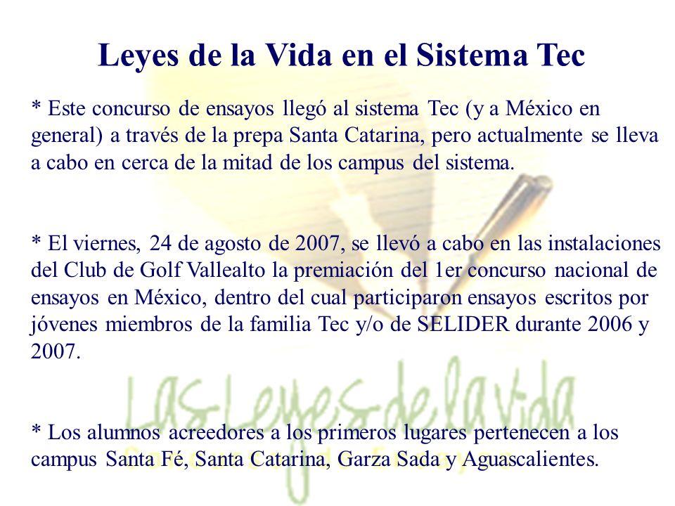 Regresar 59 Leyes de la Vida en el Sistema Tec * Este concurso de ensayos llegó al sistema Tec (y a México en general) a través de la prepa Santa Cata