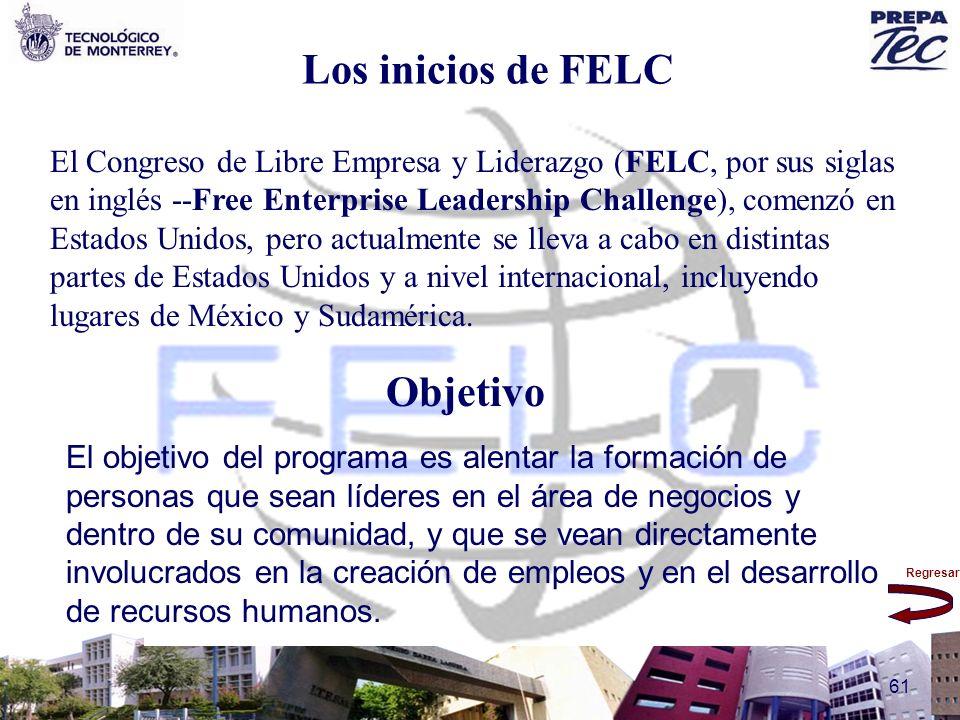 Regresar 61 Los inicios de FELC El Congreso de Libre Empresa y Liderazgo (FELC, por sus siglas en inglés --Free Enterprise Leadership Challenge), come