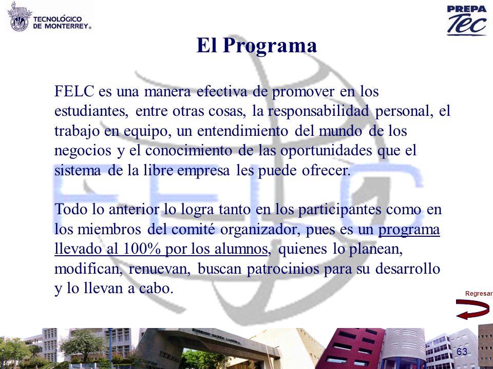 Regresar 63 El Programa FELC es una manera efectiva de promover en los estudiantes, entre otras cosas, la responsabilidad personal, el trabajo en equi