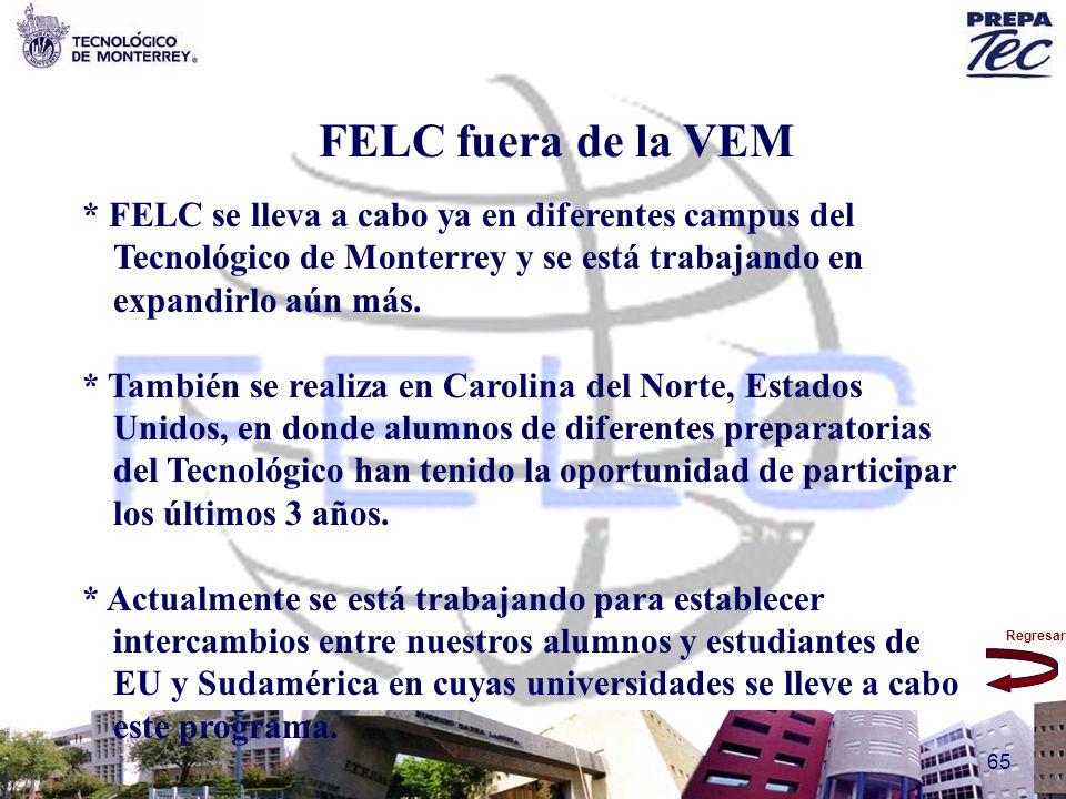 Regresar 65 FELC fuera de la VEM * FELC se lleva a cabo ya en diferentes campus del Tecnológico de Monterrey y se está trabajando en expandirlo aún má