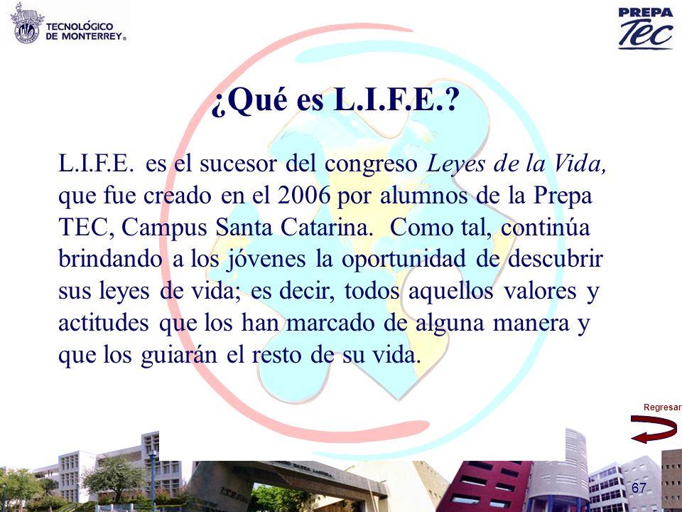 Regresar 67 ¿Qué es L.I.F.E.? L.I.F.E. es el sucesor del congreso Leyes de la Vida, que fue creado en el 2006 por alumnos de la Prepa TEC, Campus Sant