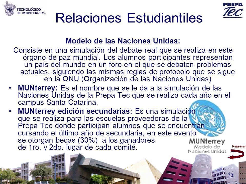 Regresar 73 Relaciones Estudiantiles Modelo de las Naciones Unidas: Consiste en una simulación del debate real que se realiza en este órgano de paz mu
