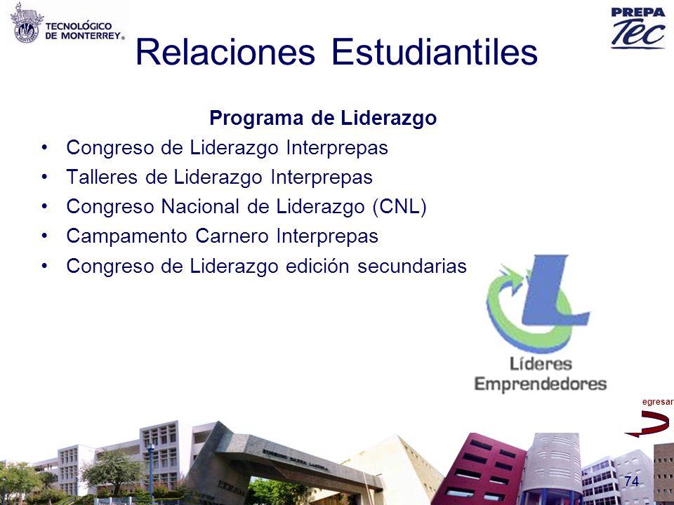 Regresar 74 Relaciones Estudiantiles Programa de Liderazgo Congreso de Liderazgo Interprepas Talleres de Liderazgo Interprepas Congreso Nacional de Li