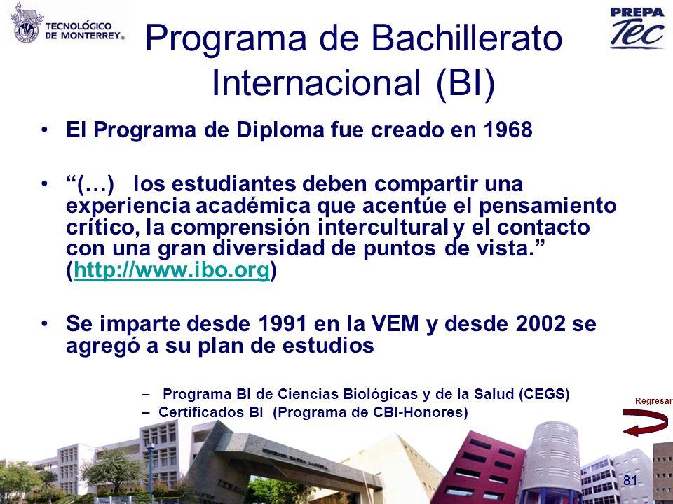 Regresar 81 Programa de Bachillerato Internacional (BI) El Programa de Diploma fue creado en 1968 (…) los estudiantes deben compartir una experiencia