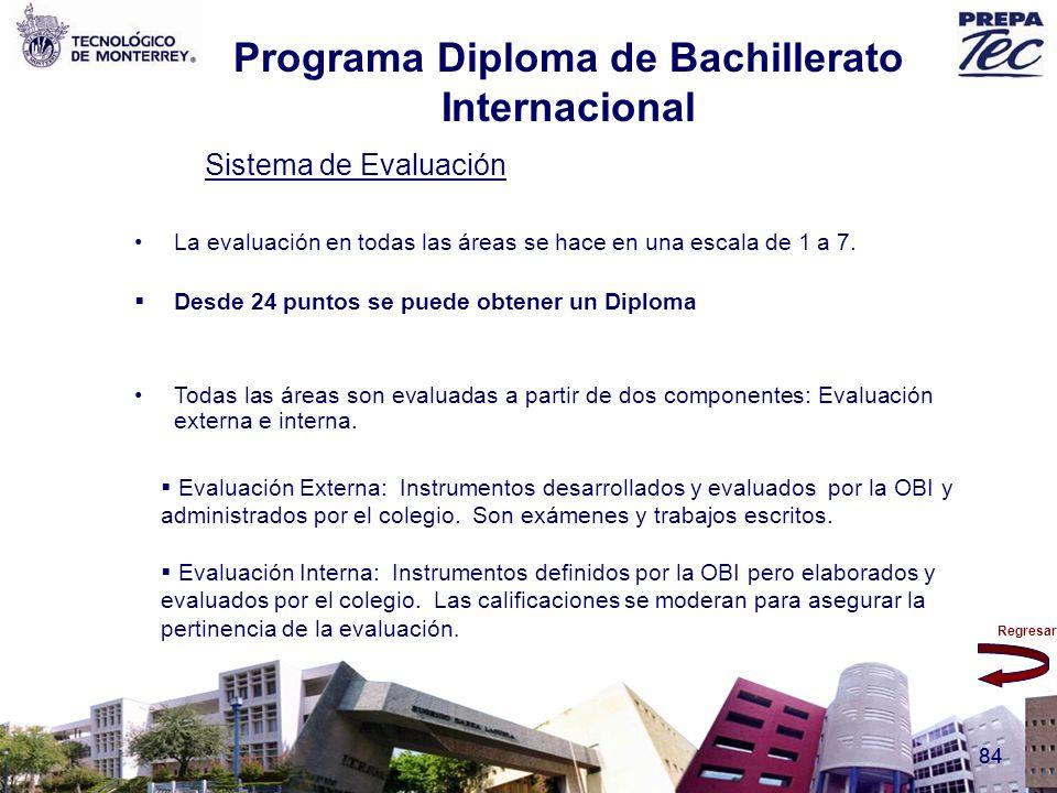 Regresar 84 Sistema de Evaluación La evaluación en todas las áreas se hace en una escala de 1 a 7. Desde 24 puntos se puede obtener un Diploma Todas l