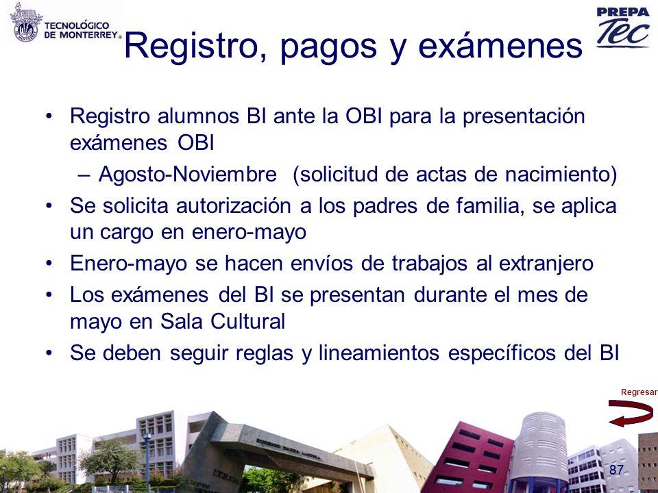 Regresar 87 Registro, pagos y exámenes Registro alumnos BI ante la OBI para la presentación exámenes OBI –Agosto-Noviembre (solicitud de actas de naci