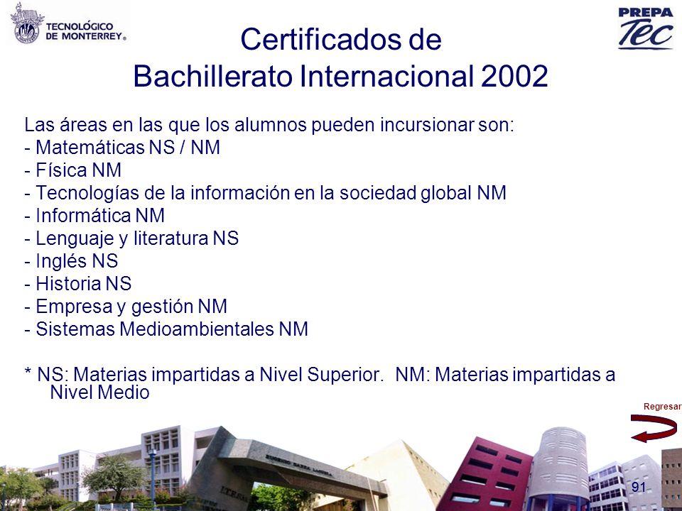 Regresar 91 Certificados de Bachillerato Internacional 2002 Las áreas en las que los alumnos pueden incursionar son: - Matemáticas NS / NM - Física NM