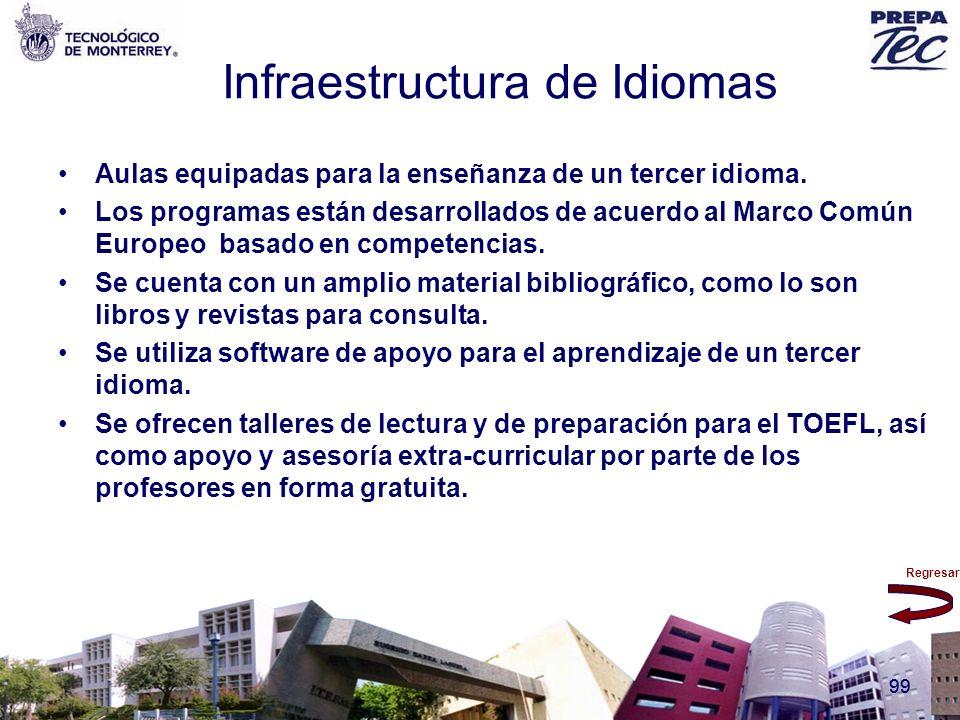 Regresar 99 Infraestructura de Idiomas Aulas equipadas para la enseñanza de un tercer idioma. Los programas están desarrollados de acuerdo al Marco Co