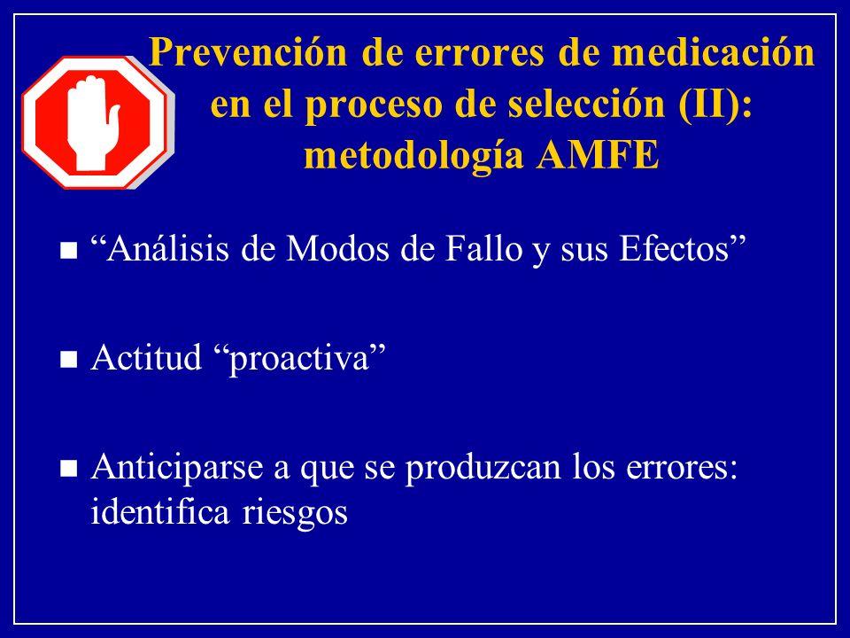 Prevención de errores de medicación en el proceso de selección (II): metodología AMFE n Análisis de Modos de Fallo y sus Efectos n Actitud proactiva n Anticiparse a que se produzcan los errores: identifica riesgos