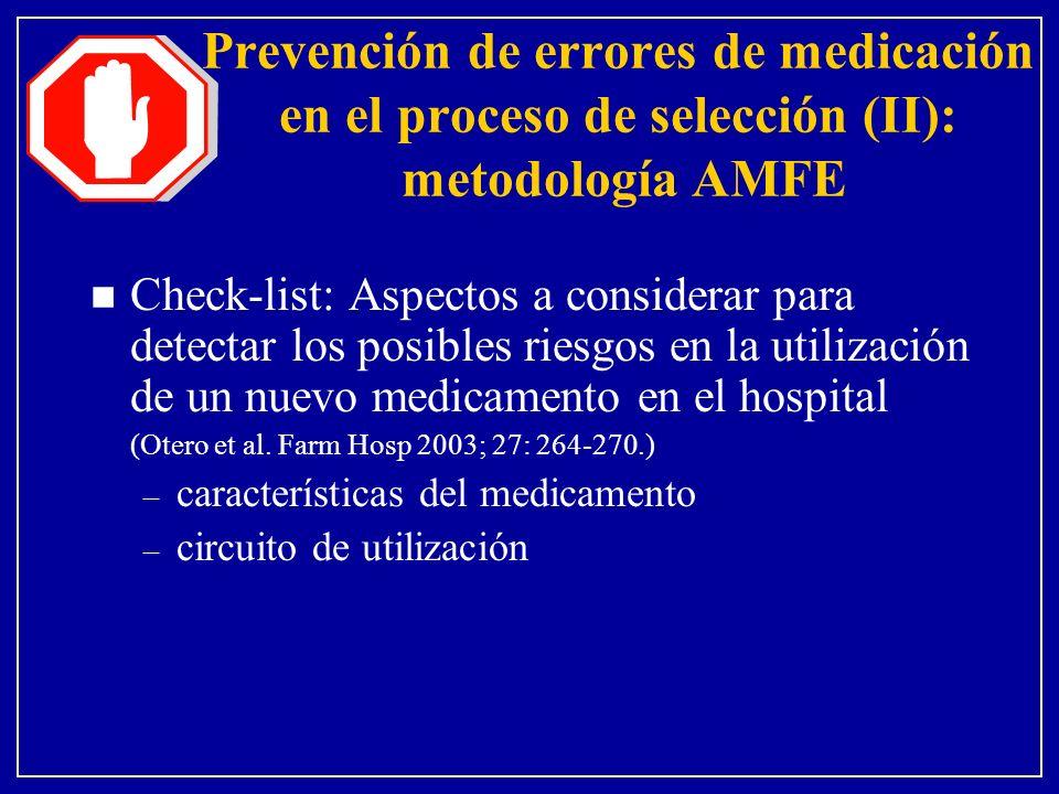 n Check-list: Aspectos a considerar para detectar los posibles riesgos en la utilización de un nuevo medicamento en el hospital (Otero et al. Farm Hos