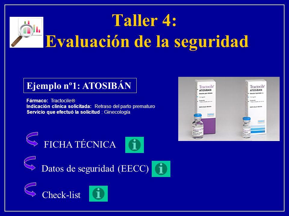 Taller 4: Evaluación de la seguridad Ejemplo nº1: ATOSIBÁN Fármaco: Tractocile Indicación clínica solicitada: Retraso del parto prematuro Servicio que efectuó la solicitud : Ginecología FICHA TÉCNICA Datos de seguridad (EECC) Check-list