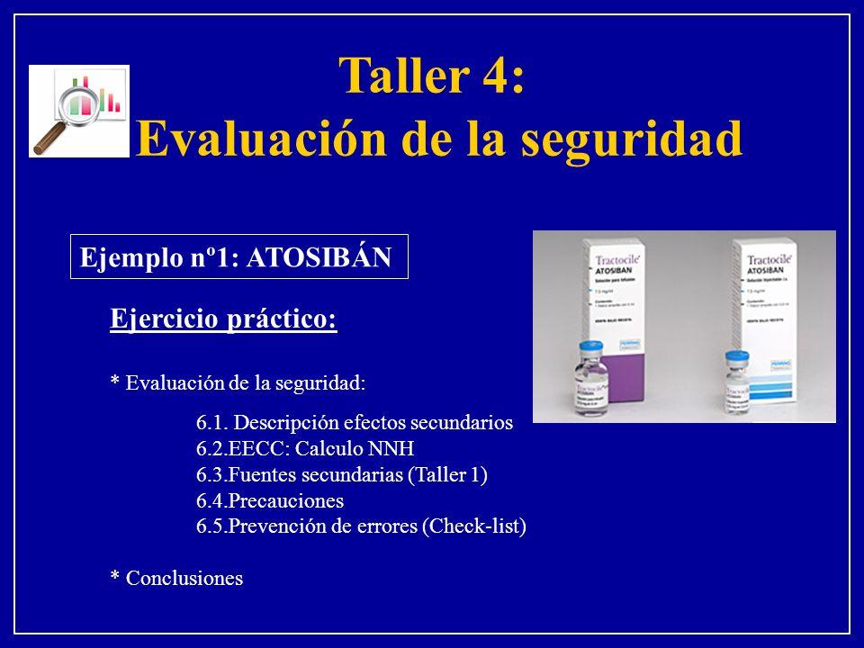 Ejemplo nº1: ATOSIBÁN Ejercicio práctico: * Evaluación de la seguridad: 6.1. Descripción efectos secundarios 6.2.EECC: Calculo NNH 6.3.Fuentes secunda