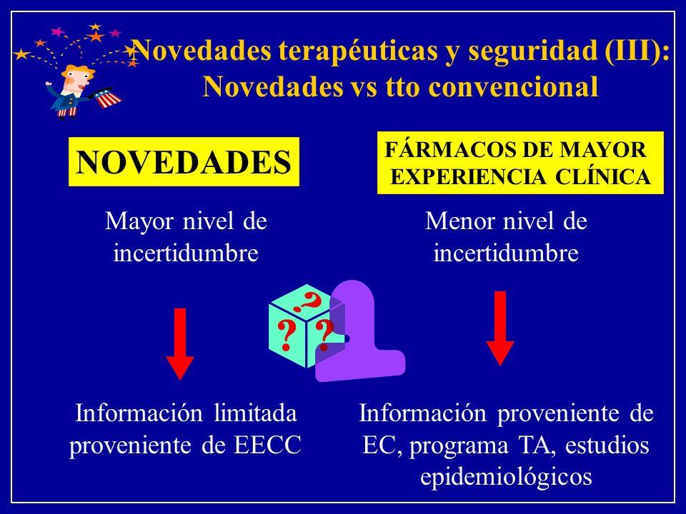 Novedades terapéuticas y seguridad (III): Novedades vs tto convencional Menor nivel de incertidumbre Información proveniente de EC, programa TA, estud