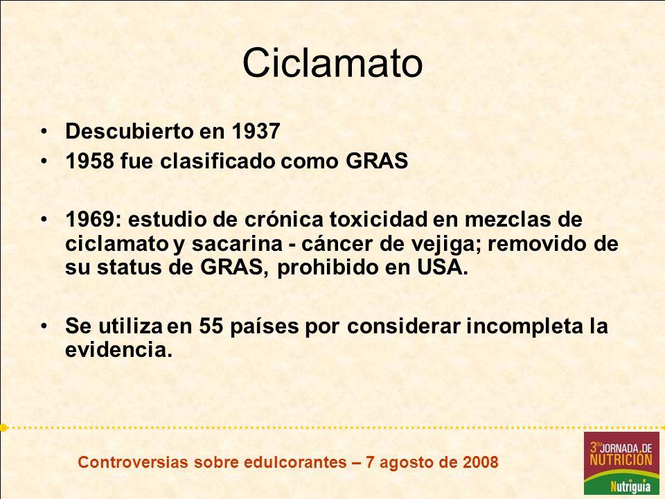 Controversias sobre edulcorantes – 7 agosto de 2008 Ciclamato Descubierto en 1937 1958 fue clasificado como GRAS 1969: estudio de crónica toxicidad en
