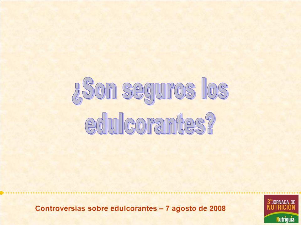 Controversias sobre edulcorantes – 7 agosto de 2008 NEOHESPERIDINA DC Hidrogenación de flavonoides de naranjas amargas Usada en combinación con otros edulcorantes, notables efectos sinérgicos SFC aprobado 1998 IDA 0 – 5 mg/kg peso/día
