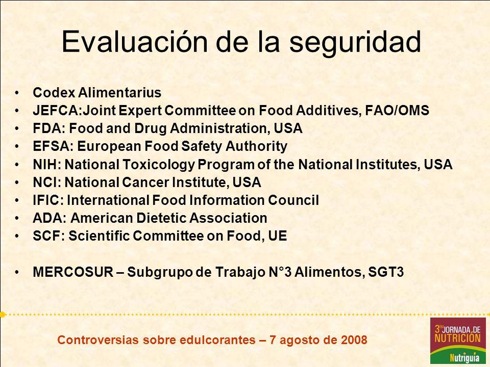Evaluación de la seguridad Codex Alimentarius JEFCA:Joint Expert Committee on Food Additives, FAO/OMS FDA: Food and Drug Administration, USA EFSA: Eur