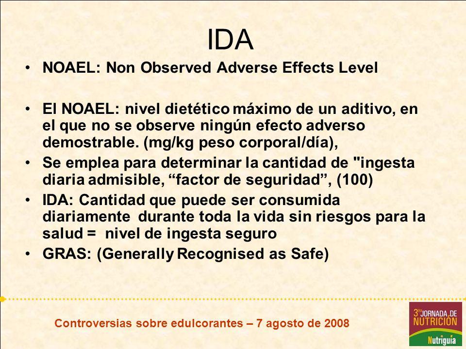 Controversias sobre edulcorantes – 7 agosto de 2008 IDA NOAEL: Non Observed Adverse Effects Level El NOAEL: nivel dietético máximo de un aditivo, en e