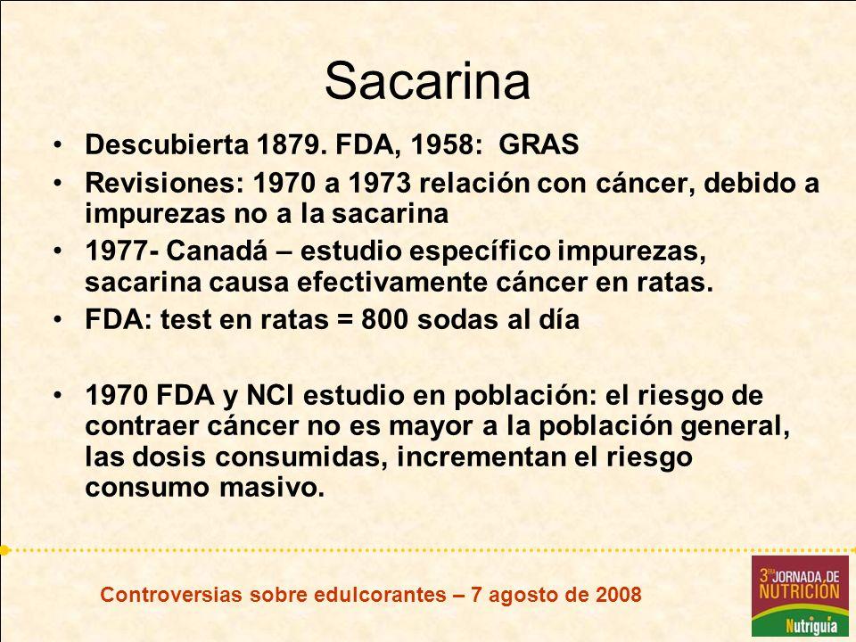 Sacarina Descubierta 1879. FDA, 1958: GRAS Revisiones: 1970 a 1973 relación con cáncer, debido a impurezas no a la sacarina 1977- Canadá – estudio esp