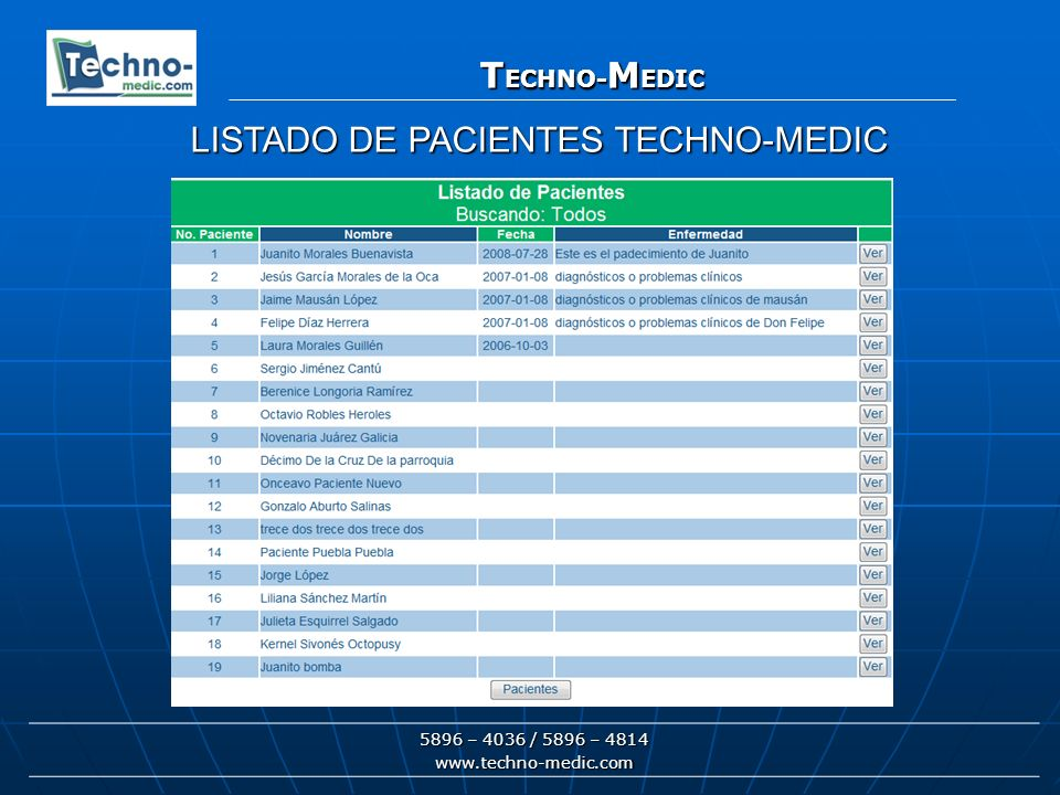 T ECHNO- M EDIC 5896 – 4036 / 5896 – 4814 www.techno-medic.com T ECHNO- M EDIC LISTADO DE PACIENTES TECHNO-MEDIC