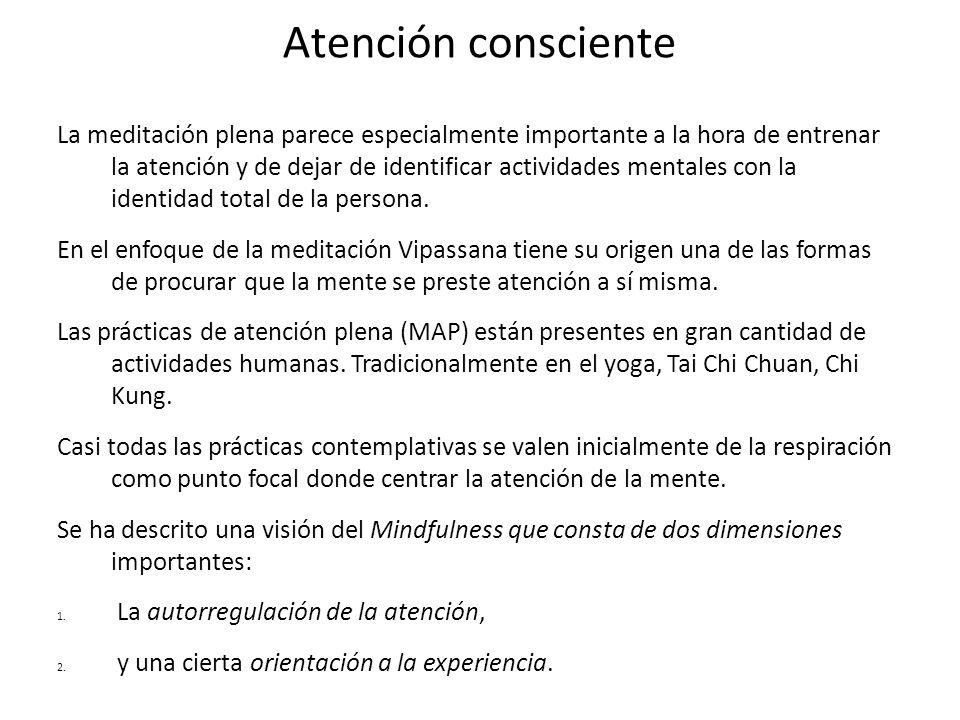 Atención consciente La meditación plena parece especialmente importante a la hora de entrenar la atención y de dejar de identificar actividades mental