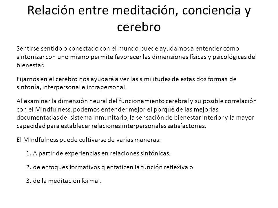 Relación entre meditación, conciencia y cerebro Es importante en la práctica clínica prestar atención a la mente, en lugar de limitarnos a subrayar los síntomas de la enfermedad.