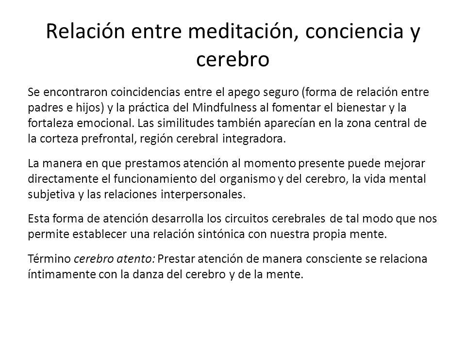 Relación entre meditación, conciencia y cerebro Se encontraron coincidencias entre el apego seguro (forma de relación entre padres e hijos) y la práct