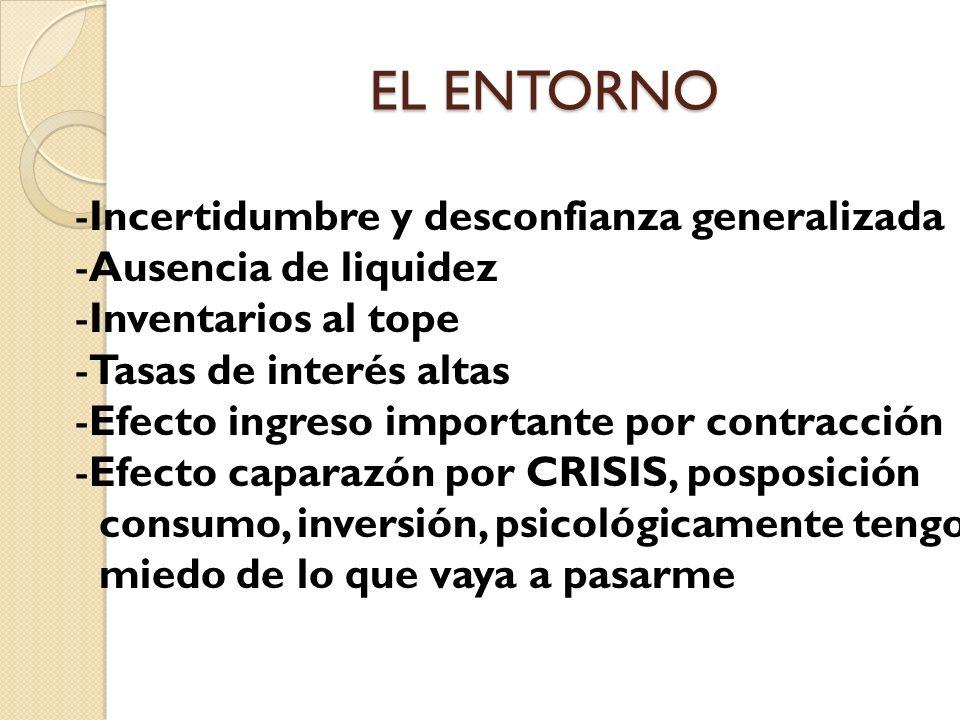 EL ENTORNO -Incertidumbre y desconfianza generalizada -Ausencia de liquidez -Inventarios al tope -Tasas de interés altas -Efecto ingreso importante po