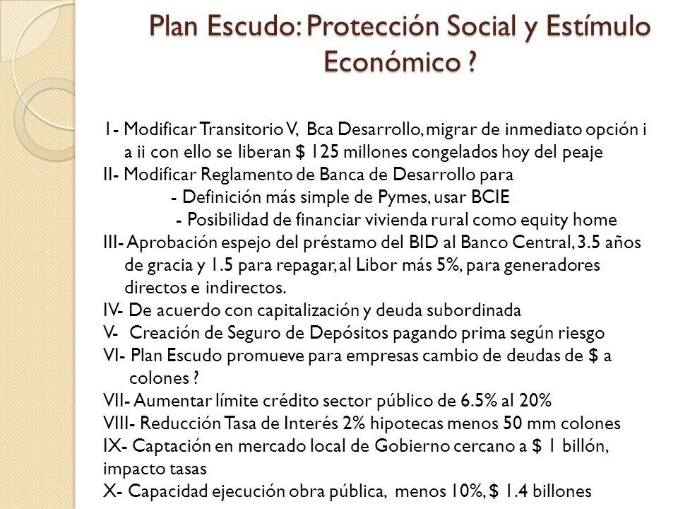 Plan Escudo: Protección Social y Estímulo Económico ? 1- Modificar Transitorio V, Bca Desarrollo, migrar de inmediato opción i a ii con ello se libera