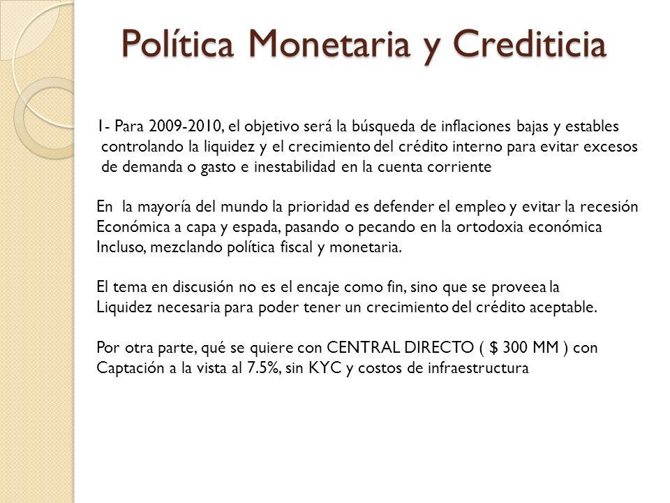 Política Monetaria y Crediticia 1- Para 2009-2010, el objetivo será la búsqueda de inflaciones bajas y estables controlando la liquidez y el crecimien