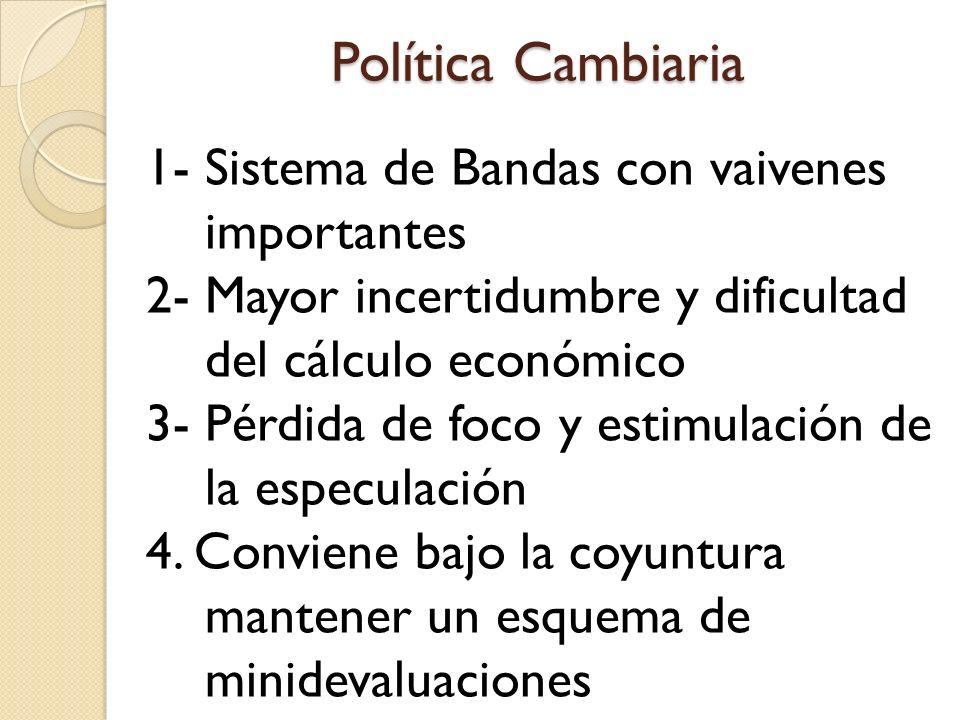 Política Cambiaria 1- Sistema de Bandas con vaivenes importantes 2- Mayor incertidumbre y dificultad del cálculo económico 3- Pérdida de foco y estimu
