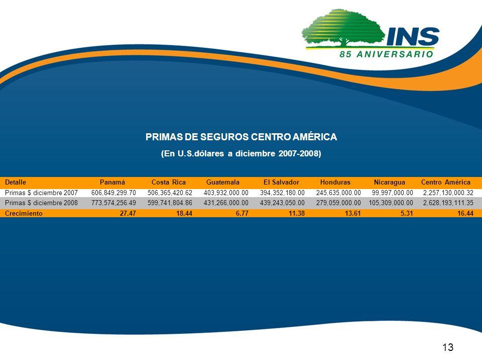 PRIMAS DE SEGUROS CENTRO AMÉRICA (En U.S.dólares a diciembre 2007-2008) 13 Detalle Primas $ diciembre 2007 Primas $ diciembre 2008 Crecimiento Costa R