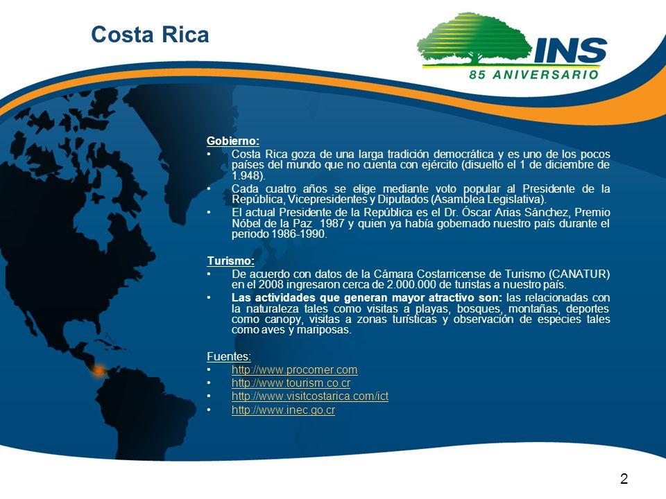 Gobierno: Costa Rica goza de una larga tradición democrática y es uno de los pocos países del mundo que no cuenta con ejército (disuelto el 1 de dicie