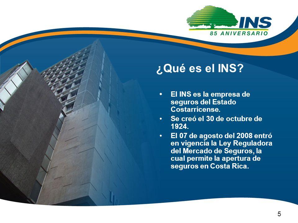 ¿Qué es el INS? El INS es la empresa de seguros del Estado Costarricense. Se creó el 30 de octubre de 1924. El 07 de agosto del 2008 entró en vigencia