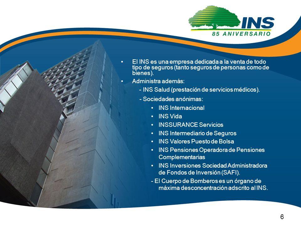 El INS es una empresa dedicada a la venta de todo tipo de seguros (tanto seguros de personas como de bienes). Administra además: - INS Salud (prestaci