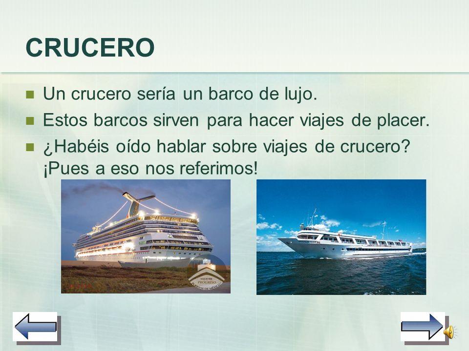BARCOS DE RECREO Estos barcos transportan personas, pero… ¿sabéis para qué? ¡Para que se lo pasen estupendamente! A continuación hablaremos de dos tip