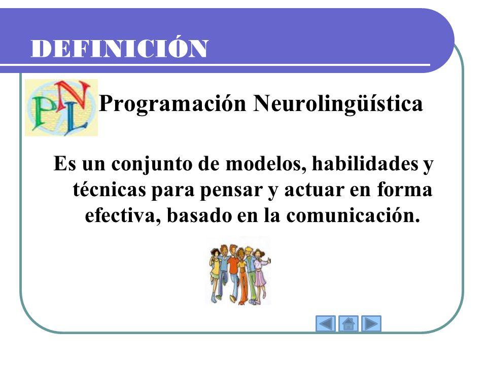 DEFINICIÓN La Programación Neurolingüística Es un conjunto de modelos, habilidades y técnicas para pensar y actuar en forma efectiva, basado en la com