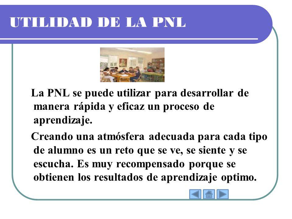 UTILIDAD DE LA PNL La PNL se puede utilizar para desarrollar de manera rápida y eficaz un proceso de aprendizaje. Creando una atmósfera adecuada para