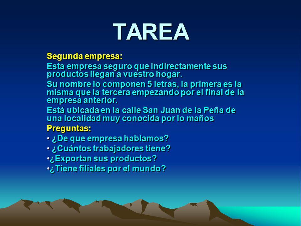 TAREA Tercera empresa: Su nombre lo componen 6 letras, la primera es la misma que la última de la primera empresa.