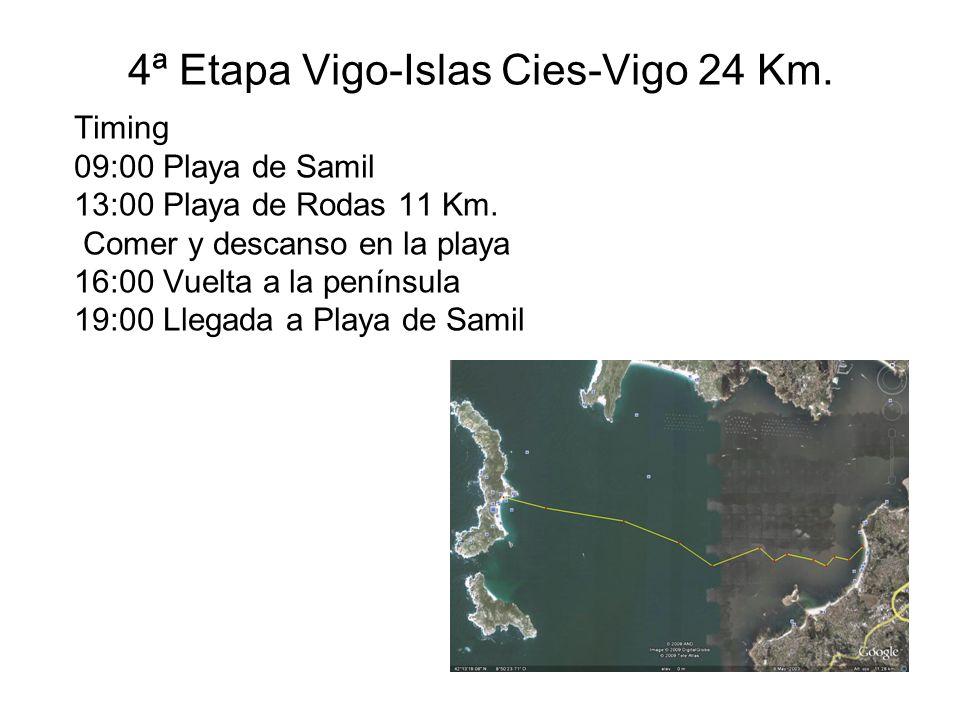 4ª Etapa Vigo-Islas Cies-Vigo 24 Km. Timing 09:00 Playa de Samil 13:00 Playa de Rodas 11 Km.