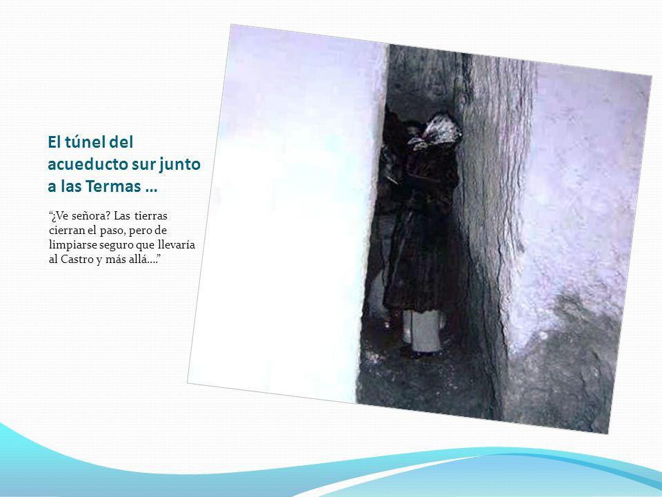 El túnel del acueducto sur junto a las Termas … ¿Ve señora? Las tierras cierran el paso, pero de limpiarse seguro que llevaría al Castro y más allá….