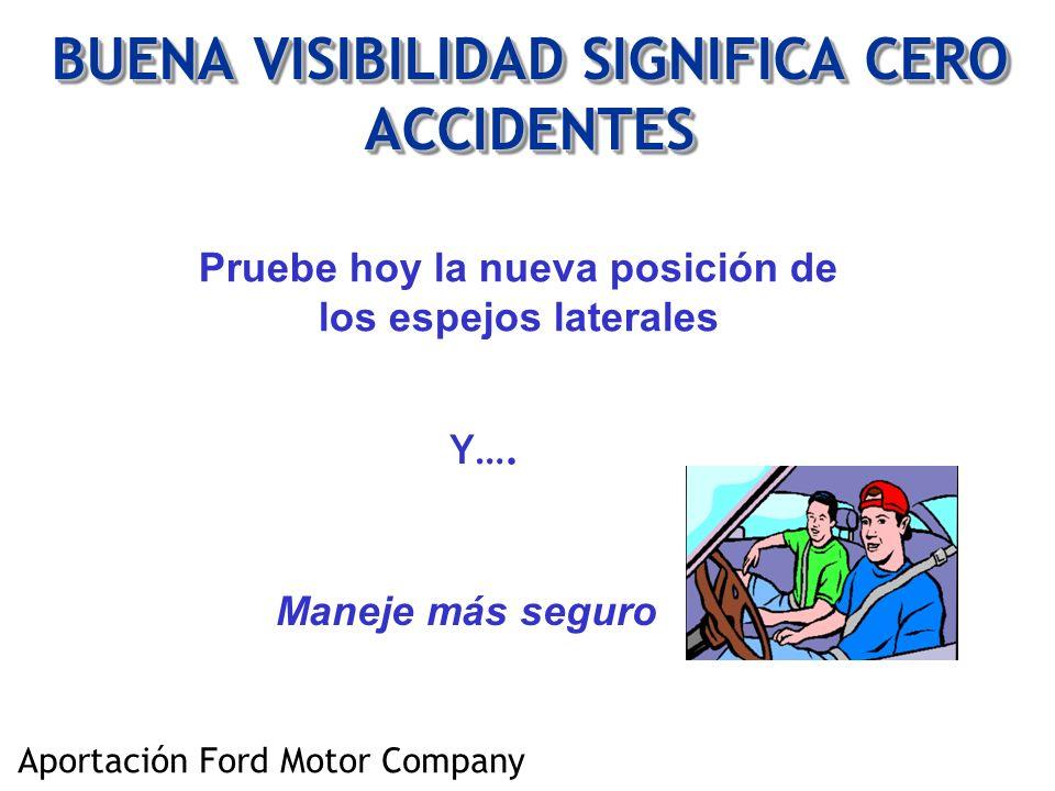 BUENA VISIBILIDAD SIGNIFICA CERO ACCIDENTES Pruebe hoy la nueva posición de los espejos laterales Y…. Maneje más seguro Aportación Ford Motor Company