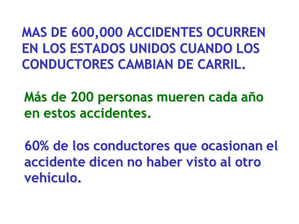 MAS DE 600,000 ACCIDENTES OCURREN EN LOS ESTADOS UNIDOS CUANDO LOS CONDUCTORES CAMBIAN DE CARRIL. Más de 200 personas mueren cada año en estos acciden