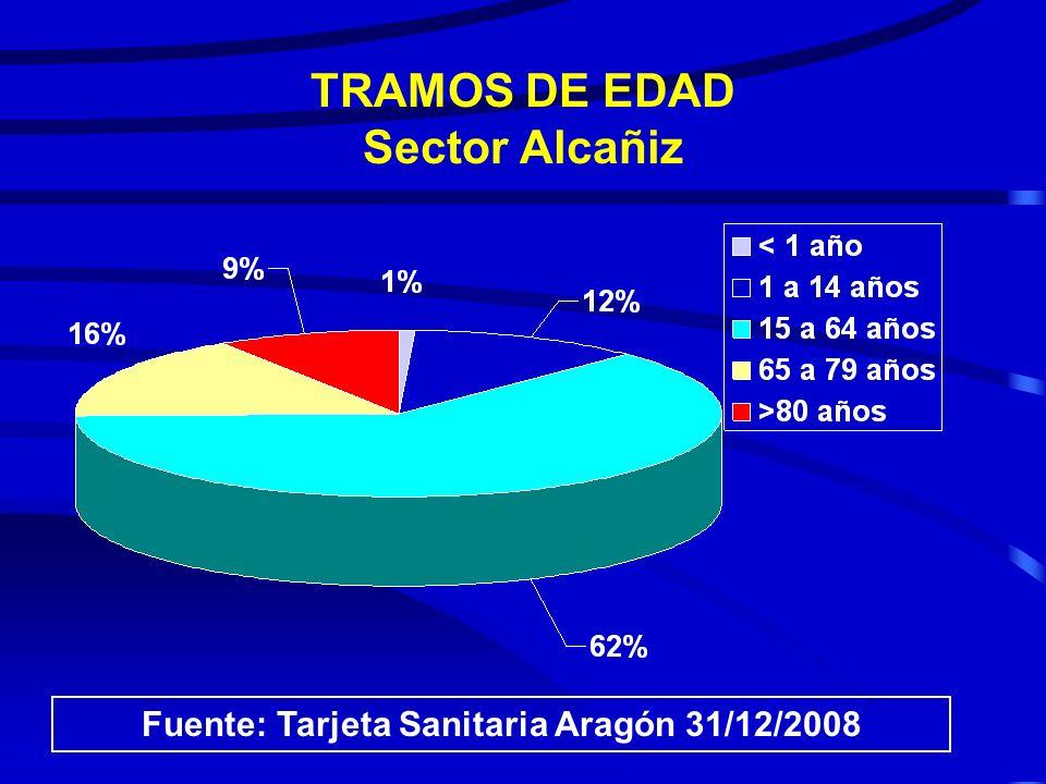 TRAMOS DE EDAD Sector Teruel Fuente: Tarjeta Sanitaria Aragón 31/12/2008