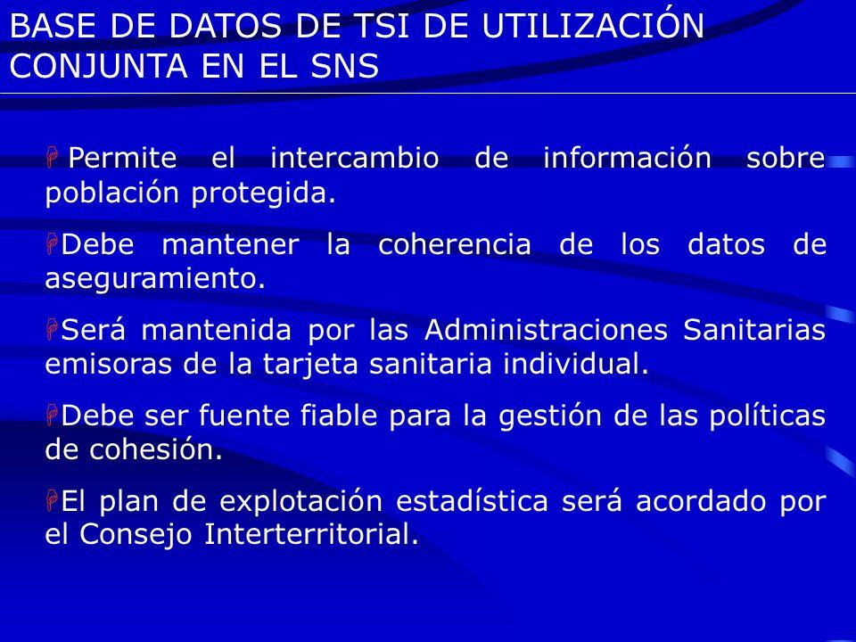 BASE DE DATOS DE TSI DE UTILIZACIÓN CONJUNTA EN EL SNS Participan en la actualidad las CCAA y Ciudades con Estatuto de Autonomía que proceden de un si