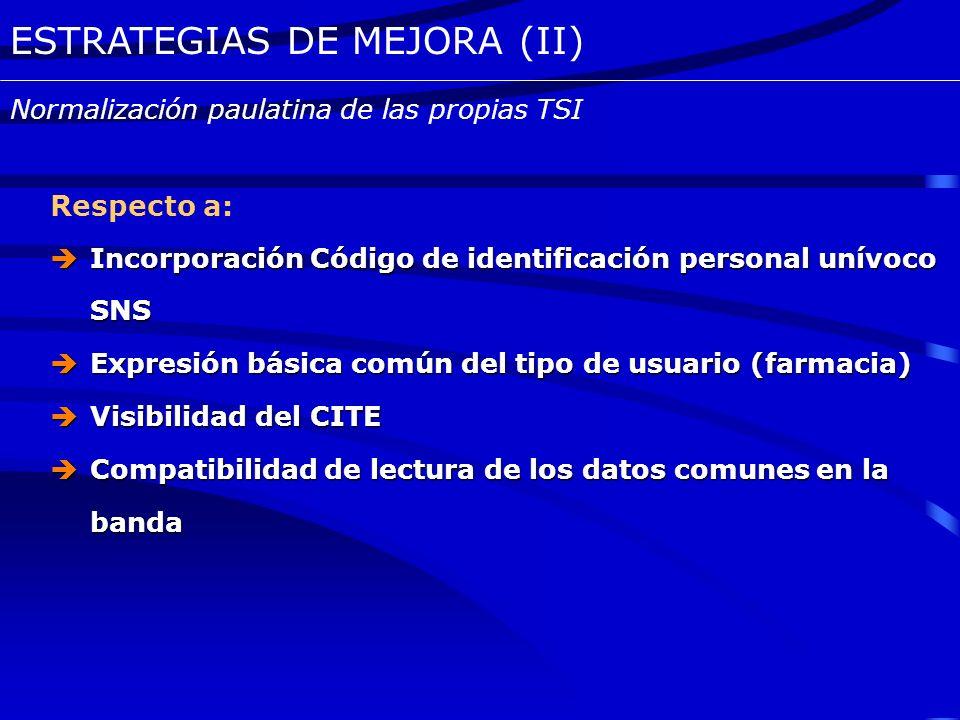 ESTRATEGIAS DE MEJORA (I) Permitirá: La identificación homogénea de los usuarios código de identificación personal unívoco para el SNS Mantener un int