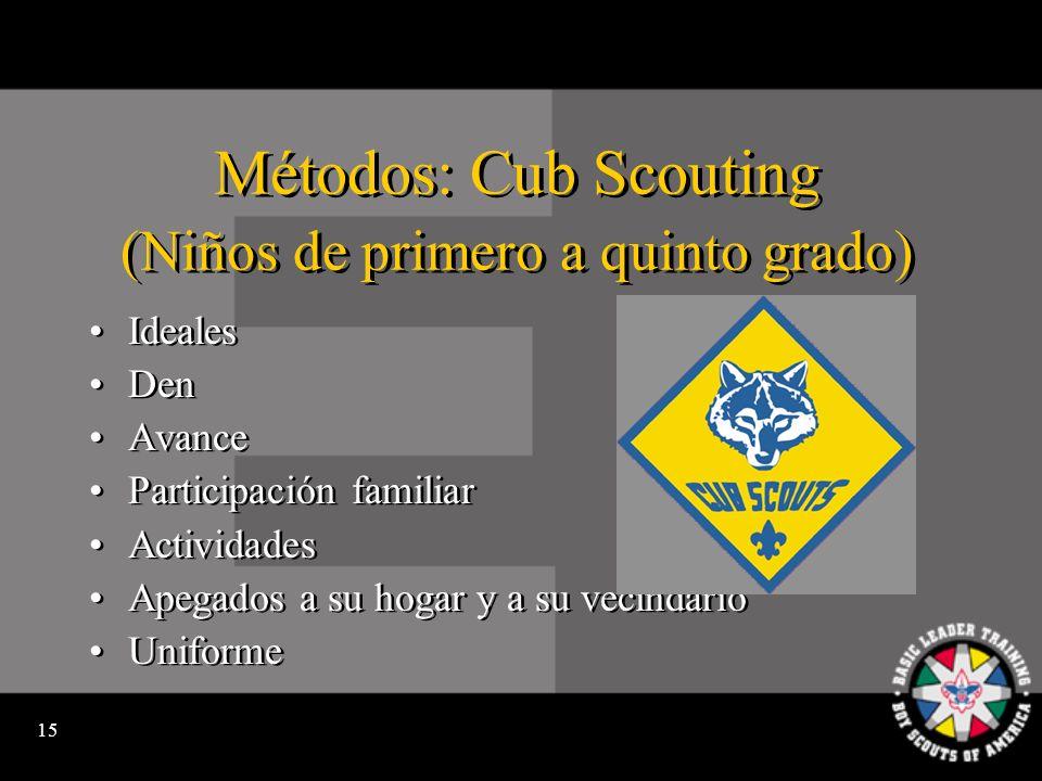 14 Los Programas de Scouting Cub Scouting es para niños de primero a quinto grado o que tienen de 7 a 10 años.