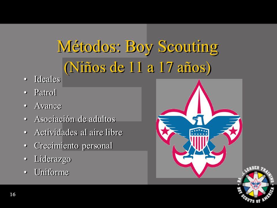 15 Métodos: Cub Scouting (Niños de primero a quinto grado) Ideales Den Avance Participación familiar Actividades Apegados a su hogar y a su vecindario Uniforme Ideales Den Avance Participación familiar Actividades Apegados a su hogar y a su vecindario Uniforme