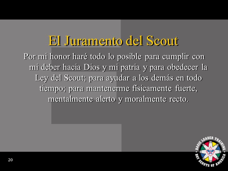 19 La Promesa del Cub Scout Yo, (nombre), prometo hacer mi mejor esfuerzo por cumplir con mi deber hacia Dios y hacia mi patria.