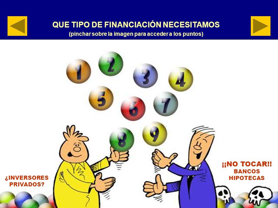 QUE TIPO DE FINANCIACIÓN NECESITAMOS (pinchar sobre la imagen para acceder a los puntos) ¿INVERSORES PRIVADOS.